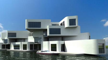 水に浮く集合住宅
