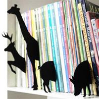 動物のシルエットで本棚を整頓
