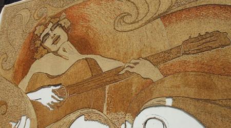 巨大なコルクの壁画