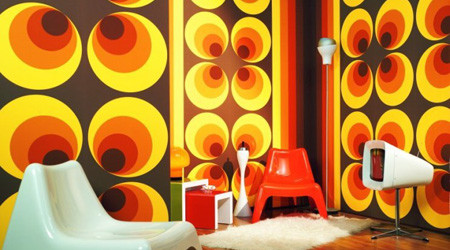 70年代風カラフルなパターンの壁紙
