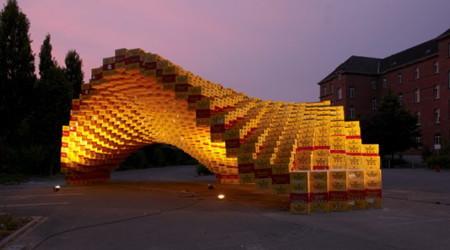 ビールケースで作った構造物