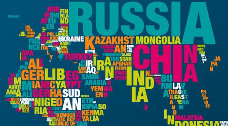 世界地図をタイポグラフィで