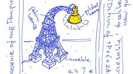 エッフェル塔のランプとタージマハルのテーブル