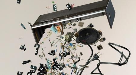 躍動感あふれる美しい機械の分解写真