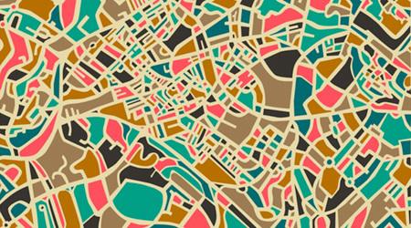 世界的な都市を抽象的でビビッドなマップに