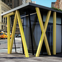TAXIの文字が屋根を支える優良デザインのタクシー乗り場