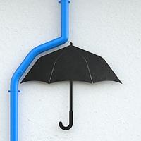 傘や雲で遊び心のある雨樋