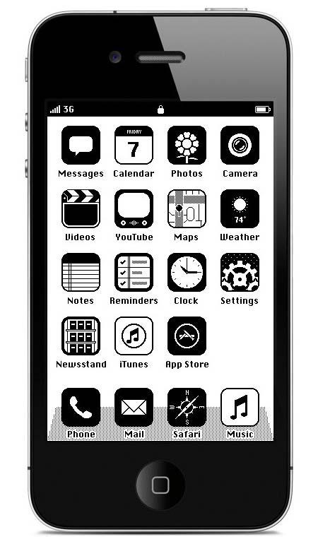 iPhoneを旧世代のマック風に
